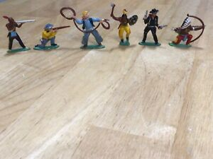6 Vintage 1950's JAPAN Lead Metal Hopalong Cassidy Toy COWBOY & FIGHTING INDIANS
