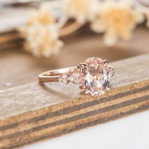 3 Ct Oval Cut Morganite Diamond Solitaire Engagement Ring 14K Rose Gold Finish