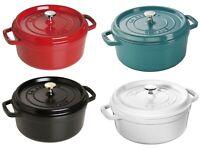 Staub Cast Iron 4-qt Round Cocotte Cooking Pot - 4 COLOR CHOICE NEW
