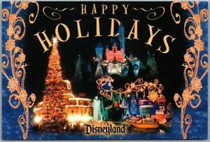 """Vintage DISNEYLAND California Postcard """"HAPPY HOLIDAYS"""" Multi-View c1980s Unused"""