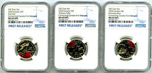 2020 CONNECTING CANADA NGC MS69 DPL FIRST RELEASES 25 CENT QUARTER 3 COIN SET