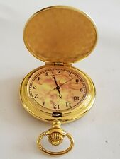 Tone Quartz Plated Pocket Watch. Beautiful Modern Full Hunter Gold