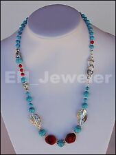 "Necklace Turquoise and Coral AAA 23"" Semi-Precious Stone"