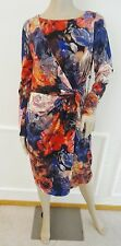 Nwt Adrianna Papell  Front Knot Work Jersey Sheath Dress Sz 10 Red Purple Floral