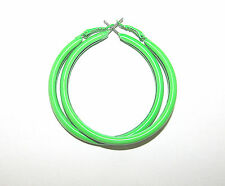 Neon Hoop Earrings 1980's Retro Big Bright  Funky Colours Ladies fancy dress