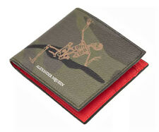 ALEXANDER McQUEEN 'Dancing Skeleton' Men's Camouflage Leather Wallet Bi-fold NWT