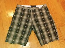 Bill blass mens shorts size 32 34 multi color plaid 100% cotton flat front