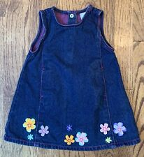 Vtg Gymboree Winter Sparkle Denim Jumper Dress Appliqué Flowers Size 12-18m