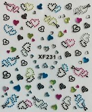 Nail Art 3D Glitter Decal Stickers Hearts with Rhinestones XF231