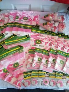 LOT 36 Pkgs JOHN DEERE Pink Camo BIRTHDAY PARTY Supplies HATS Bags BANNERS Cover