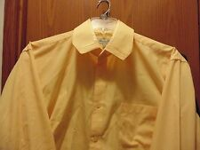 Fratello solid yellow cotton/poly blend mens shirt 17 1/2X34 sleeve/ classic fit