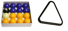 """BLUES AND YELLOWS 2"""" English STANDARD SIZE POOL TABLES BALLS SET With TRIANGLE"""