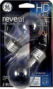 2 GE HD Reveal 60 Watt Clear A15 Vibration Resistant Ceiling Fan Light Bulbs