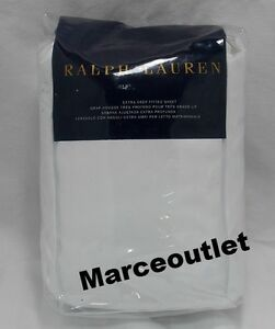 Ralph Lauren 624 Thread Count Cotton Sateen QUEEN Fitted Sheet Deco White