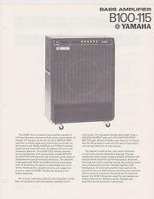 1970s AD SHEET #2773 - YAMAHA B100-115 BASS AMPLIFIER
