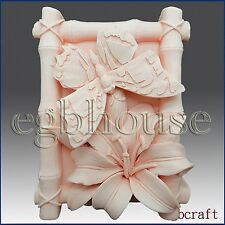 2D Silicone Soap/Plaster/Polymer Clay Mold - Butterfly and Lily in Bamboo Frame