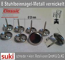 8 Stuhlbeinnägel Ø 20mm Stuhlbeingleiter Metalgleiter Teppichgleiter