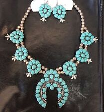 Costume Jewelry Squash Blossom Silver Tone Metal Turquoise Bead Flower Necklace