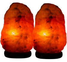 2xHimalayan Salt Lamp Natural Crystal Rock Shape Therapeutic Night Light 3-5kg