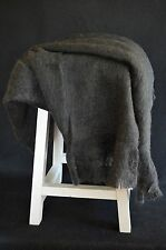 Charcoal Black Soft Fuzzy Acrylic Wool Blend Throw Blanket Afghan with Fringe