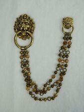 Eric Beamon Vintage Gold Tone Lion Head Brooch Statement Fashion Necklace