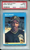 1987 Fleer Glossy Baseball 604 Barry Bonds Rookie Card RC Graded PSA Gem Mint 10