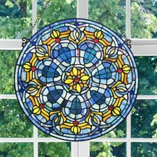 Round Victorian Design Roman Theme Stained Glass Window Panel - 19.5in