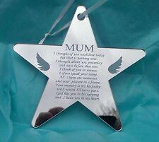 Mum Miss You Mum Personalised Laser Engraved Memorial Star Mirror Acrylic