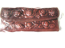 Leather Wallet Mexican Tooled Flowers Mirror Credit Cards Coin Purse Brown