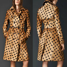 BURBERRY PRORSUM Calf Hair Heart Print Trench Coat $8995 IT 42 US 8