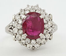 Vintage Platinum 1.36 ct Oval Cut Ruby & 0.58 Round Cut Diamond Double Halo Ring