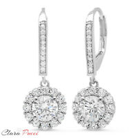 3.55ct Round Brilliant Cut Halo Leverback Drop Dangle Earrings 14k White Gold