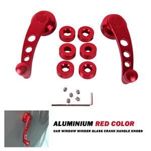 Pair Red Universal Car Auto SUV Window Winders Crank Handle Bar Part Pickup Door