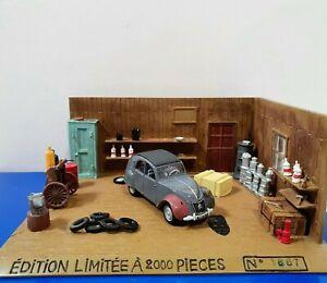 COFFRET NOREV 1:43 Diorama Garage Citroën 2CV 50 ème Anniversaire Limited