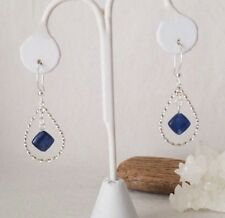 Beautiful Blue Kyanite Stone In Sterling Silver Teardrop Earrings