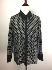 LANE BRYANTLong Sleeve Knit Top BLACK WHITE Stripe Size 14/16