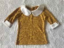 Persnickety Sz 3 Gold Laylah Top with White Collar EUC