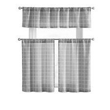 Vcny Home Gray Plaid Semi Sheer Gray Kitchen Curtain Tier & Valance Set
