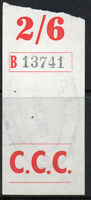 """Eire, Ireland 2/6d red & black """"Railway Parcel"""" fiscal/revenue stamp, used."""
