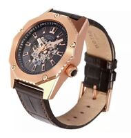 Rotary Men's GS03602/A/04 Automatic Fusion Brown Leather Strap Skeleton Watch