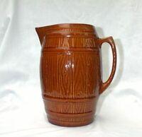 McCoy Stoneware Primitive Keg Barrel Pitcher Jug Rustic Farm Kitchen Brown 1937