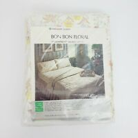 Vintage 1970s Sears Bon Bon Floral Perma Prest Full Sz Muslin Fitted Sheet NWT