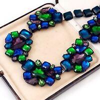 Vintage Style Signed Graine de Beaute Cellulose Green Blue Purple Necklace