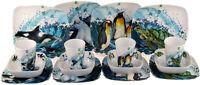 Set Of 4 Orca, Penguin, Turtle, Seal Ocean Animals Melamine Plates, Bowls, Cups