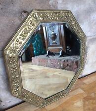 """Genuine Vintage Bevelled Mirror Octagonal Floral Embossed Brass Frame 17"""" 1960s"""