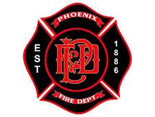 4x4 inch PHOENIX Fire Department Maltese Shaped Sticker -logo firefighter az pfd