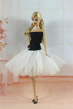 Handmade Ballet Dress with White Lace Clothes For Barbie Doll H24