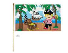 5' Wood Flag Pole Kit Wall Mount Bracket 3x5 Pirate Treasure Island Boy Flag