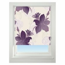 Universal Lily Patterned Thermal Blackout Roller Blind Purple W60cm