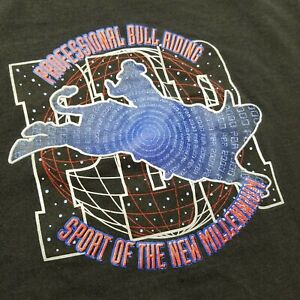Vtg 2000 PBR Bull Riding T-Shirt Mens M Black Tultex Millennium Faded 00s $65